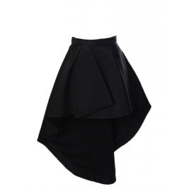 Black wool and silk asymmetric Couture high waist skirt FW2013 NEW Retail price €2500 Size 34