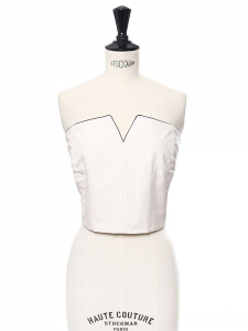 White silk sweetheart décolleté cropped top Retail price €1100 Size 34