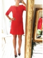 Bright red silk short sleeves Couture dress Retail price €1500 Size 38