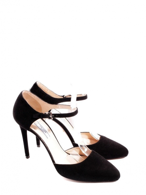 9a505ab8a9f2 Louise Paris - PRADA Black suede ankle strap heel pumps Retail price ...