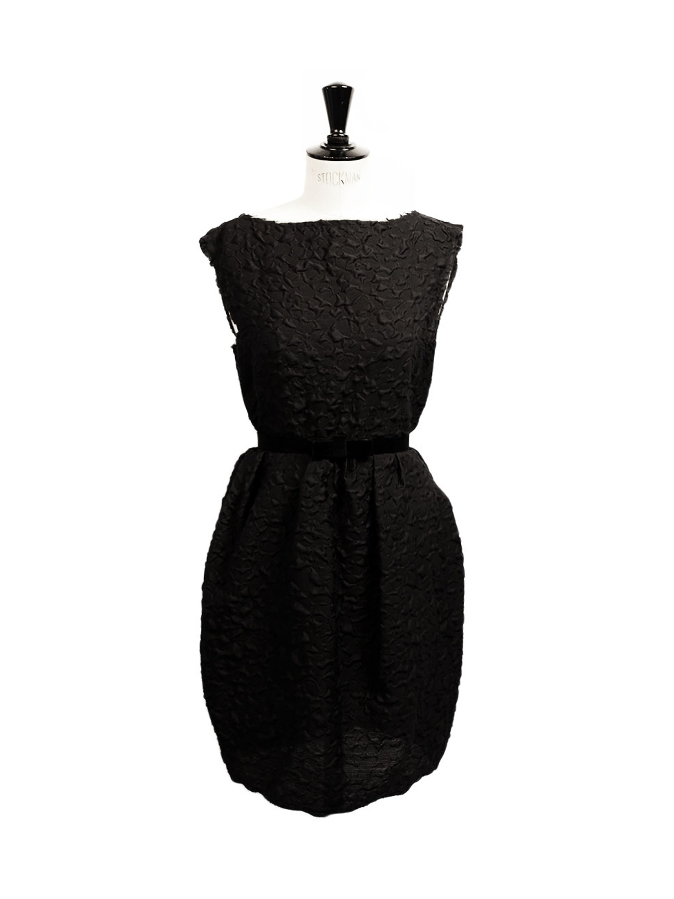fb1195343952 Louise Paris - LANVIN Black wool and silk-blend open back cinched cloque cocktail  dress Retail price €1600 Size 38