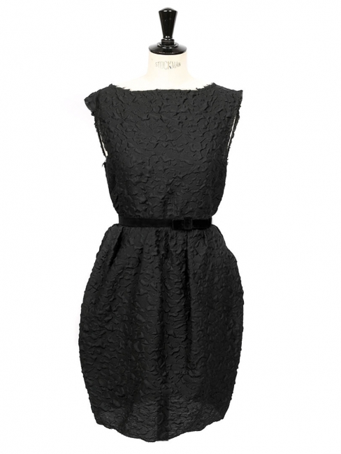 Black wool and silk-blend open back cinched cloque cocktail dress Retail price €1600 Size 38