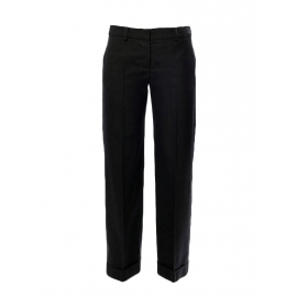 Black brown wool and silk straight cut wide-leg pants Retail price €650 Size 36/38