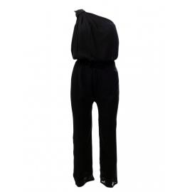 AMELIA Black silk one-shoulder jumpsuit Retail price €250 Size 38