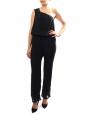 Combinaison asymétrique pantalon sarouel AMELIA en soie noire Px boutique 250€ Taille 38