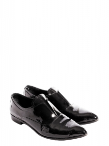 Black patent leather pointy-toe flat shoes Retail price €550 Size 38.5