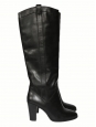 CALIE Black leather knee high boots Retail price €690 Size 38