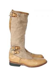 Camel beige leather and cotton twill flat boots Retail price €450 Size 38