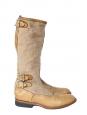 Bottes plates en cuir et sergé de coton beige camel Px boutique 450€ Taille 38