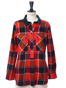 Red, navy and orange checked cotton shirt Retail price 180€ Size 36