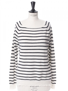 Black and white striped cashmere boat neck sweater Retail price €300 Size 36
