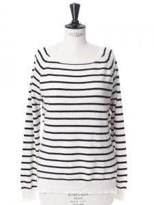 Pull manches longues col bateau marinière rayé noir et blanc Px boutique 300€ Taille 36