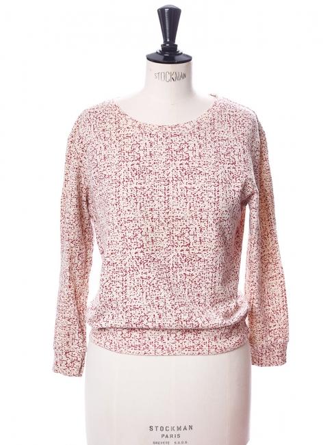 Sweat court col rond en coton blanc imprimé rouge bordeaux et rose Taille S