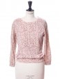 Ecru white burgundy and light pink printed cotton sweater Size S