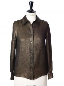 Chemisier Albert en lamé de soie noir et doré Px boutique 560€ Taille 34