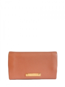 Ice-cream pink textured leather fold-over long wallet Retail price €360