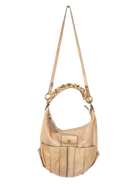 HELOISE Small hobo crossbody bag in champagne beige leather Retail price €890