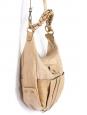 Sac à bandoulière Heloïse petit hobo en cuir beige champagne Px boutique 890€