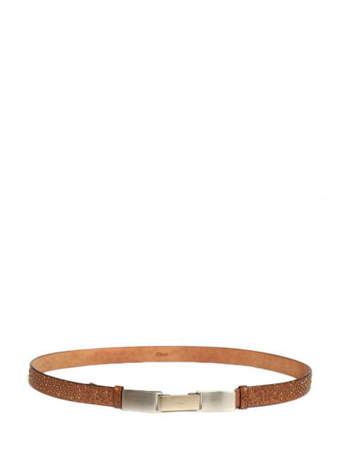 Camel leather belt with copper and gold studs Retail price €400 Size XS