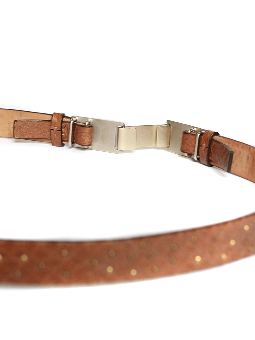 louise camel leather belt with copper and