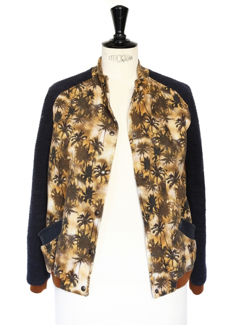 HAWK brown orange and blue palm tree printed varsity jacket Retail price €440 Size 36