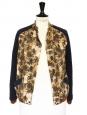 Veste teddy HAWK imprimé palmiers brun orange et bleu Prix boutique 440€ Taille 36