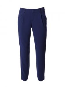 Pantalon droit à pli en crêpe fluide bleu marine Px boutique 279€ Taille 36