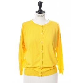 Gilet cardigan Genesio en jersey jaune safran Prix boutique 230€ taille 36