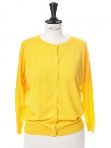 Gilet cardigan GENESIO en jersey jaune safran Px boutique 230€ taille 36