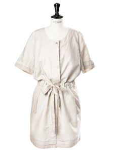 Sand beige linen and cotton Sahara belted dress Retail price €300 Size 36