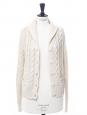 Gilet en grosse maille torsadée de coton et cachemire blanc crème Px boutique 450€ Taille 36/38