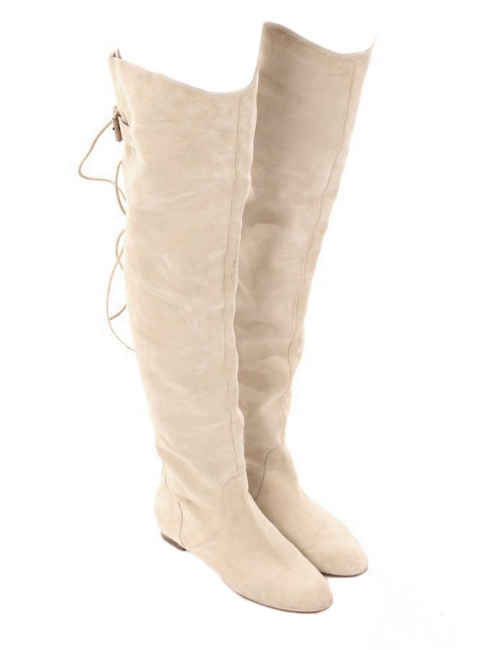 991eee433ed Sand beige suede over-the-knee flat boots Retail price €1190 Size 38