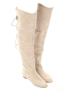 Sand beige suede over-the-knee flat boots Retail price €1190 Size 38