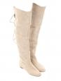 Bottes cuissardes CROSTA en suède beige clair Px boutique 1190€ Taille 38