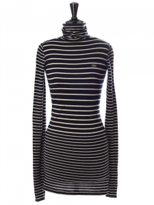 Navy blue and white pure new wool turtleneck sweater dress Retail price €175 Size 36