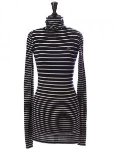 Robe marinière col roulé manches longues en pure laine vierge bleu marine et blanc Px boutique 175€ Taille 36