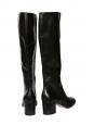 Bottes hautes à talon bas en cuir noir NEUVES Px boutique 1250€ Taille 39