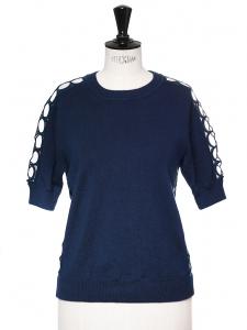 Pull manches courtes en soie et cachemire bleu touareg empiècements dentelle guipure Px boutique 750€ Taille 36