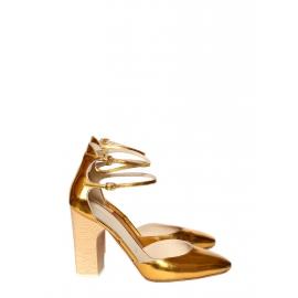 Escarpins babies à talon et bride cheville en cuir métallisé doré NEUFS Px boutique 700€ Taille 39