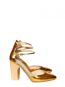 Metallic leather heeled pumps with ankle straps NEW Retail price €700 Size 39