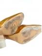Escarpins à talon et bride cheville en cuir métallisé doré NEUFS Px boutique 700€ Taille 39