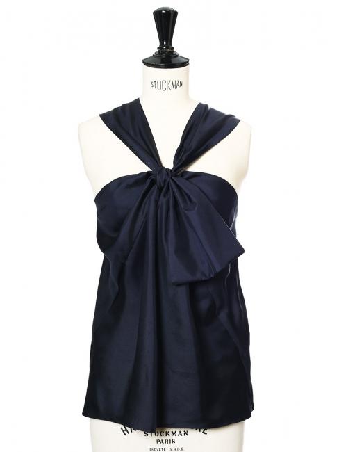 Midnight blue silk satin open back top Retail price €850 Size 36