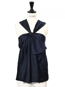 Midnight blue silk satin open back top Retail price €850 Size 36