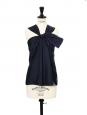 Top débardeur noeud et dos ouvert en soie bleu nuit Px boutique 850€ Taille 36