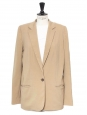 Tan beige virgin wool classic blazer jacket Retail price €1300 Size 38