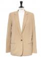 Tan beige virgin wool classic blazer jacket Retail price €1300 Size 38