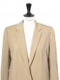 Veste blazer classique en laine vierge beige camel Px boutique 1300€ Taille 38