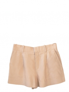 Pink beige pleated crepe shorts Retail price €490 Size 36/38