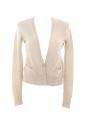 Gilet cardigan en laine merinos et soie beige sable Px boutique 700€ Taille 36