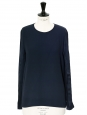 Navy blue crepe and satin long sleeved top Retail price €450 Size 36